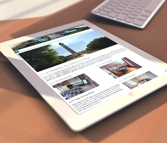 Site internet Phare des Baleines Evénements ipad